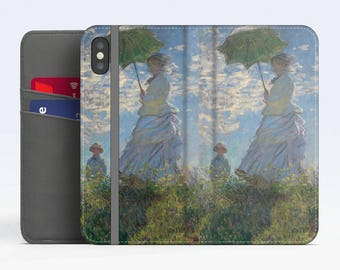 "Claude Monet, ""Woman with a Parasol"". iPhone X Wallet case iPhone 8 Wallet case  iPhone 7 Plus Wallet case. Samsung Wallet cases."