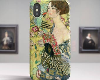 "Gustav Klimt, ""Woman with a Fan"". iPhone X Case Art iPhone 8 Case iPhone 7 Plus Case and more. iPhone X TOUGH cases. Art iphone cases."