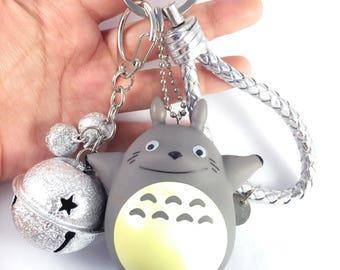 Totoro keychain, silver bell keychain