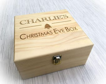 Personalised Engraved Wooden Christmas Eve Box - Xmas Treats - Any Name