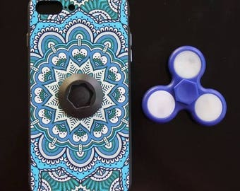 Mandala iPhone case with led fidget spinner
