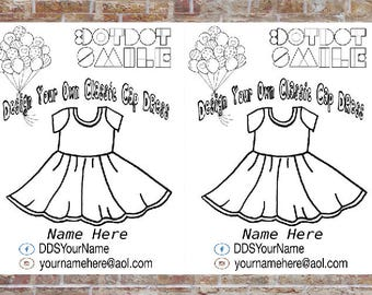 Cap Sleeve Dress Coloring Page, 2 per Page, Design a Dress, DotDotSmile, Marketing
