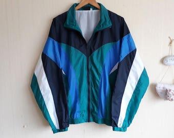 Vintage windbreaker men large 90s Windbreaker men Windbreaker jacket men large 90s nylon jacket 90s windbreaker neon Retro windbreaker men