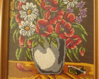 Completed Cross Stitch flower paintintgs