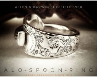 Very Pretty Victorian Sterling Silver Spoon Ring  Crafted from a 117 Year old Teaspoon Sheffield 1900 by Allen & Darwin