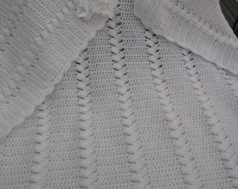 Beautiful hand made Christening Shawl, chevron and fan design in soft white baby yarn. A truely eligant gift that will be treasured