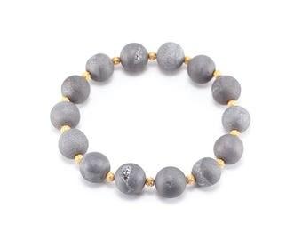 Matte Grey Druzy Beaded Bracelet