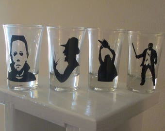 4 Slasher Shot Glasses Michael Myers Freddy Jason Leatherface Horror Halloween Merch Massacre Bar Drinkware Gift for Him Her