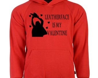 Texas Chainsaw Massacre Leatherface Valentine's Day Unisex Hoodie Pullover Sweatshirt Sizes Colors Custom Horror Halloween Merch Massacre