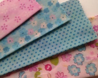Beeswax Cottage Wraps 'Pink & Blue Floral' - the eco-friendly alternative to plastic cling wrap