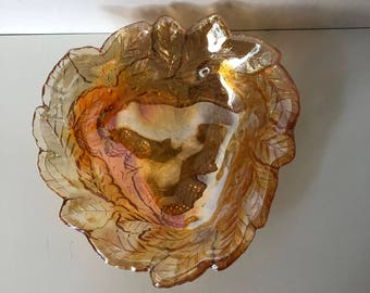 Marigold Carnival Glass Loganberry Leaf Dish