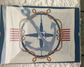 Picture with cross stitch canvas marine theme