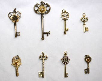 Collar Add Ons - Assorted Antique Gold Keys