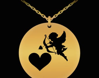 Gold Pendant - Cupid With Heart Necklace - Gift for Valentine