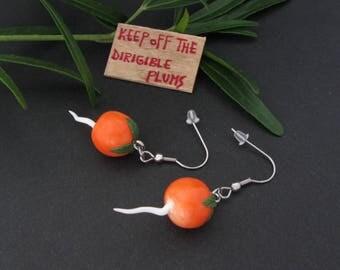 Dirigible plums earrings (radish) in hypoallergenic stainless steel - Inspired by Luna Lovegood!