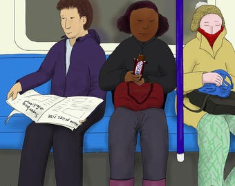 Postcard: Drawing of commuters reading, eating, sleeping on the London Underground / metro / the Tube (A6 size artwork)