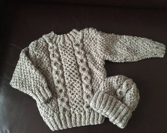 Hand knitted cable jumper and hat