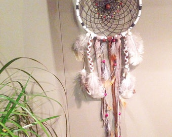 DreamCatcher in shades of Brown, cream and natural feathers