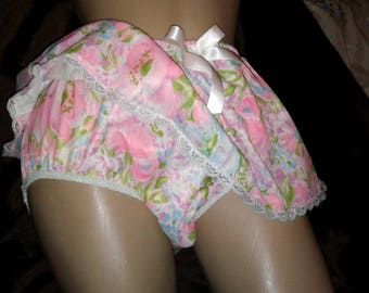 Adult Baby Sissy Floral Print NYLON Panties with Attached Slip Dress up Crossdresser Cosplay Anime Vintage Style Retro