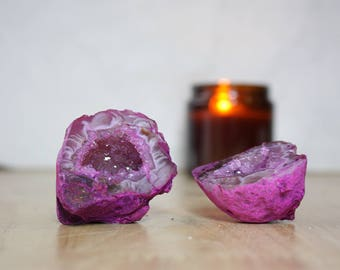 2 Agate Pink Love Caves