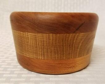 Hand Turned Mahogany and White Oak Segmented Wooden Bowl.