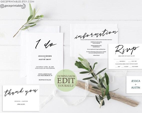 Wedding Suite Editable Invitation Template Pdf I Do Invitation