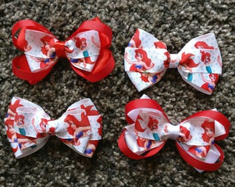 Handmade Little Mermaid bows