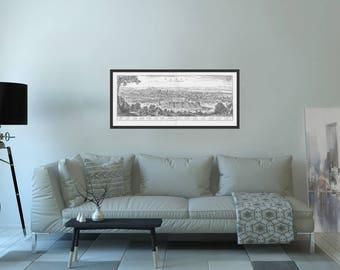 Vue generale de Paris 1620, Birdview of Paris, antique vintage Birdeye citymap, ville française,  paysage, france pari, old Paris drawing