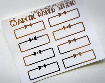 Quarter Box with Bow - FOILED Sampler Event Icons Planner Stickers