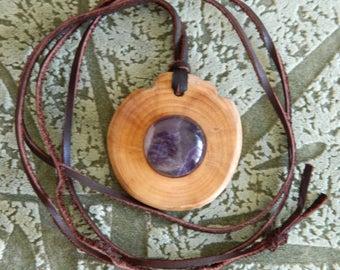 Strong Cedar talisman, reinforced with Amethyst! High curative and protective properties! Wild Siberian cedar! Natural materials! Handmade!