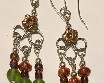 Silver Green Brown Dangle Earrings Bronze Gold Flower Nature Boho Wire