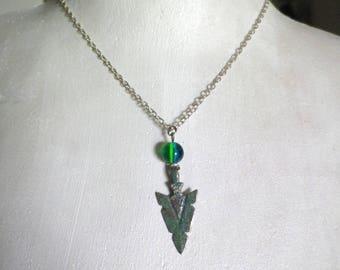 Unisex necklace enamel arrow tip