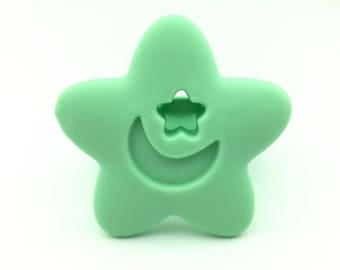 mint---Teether STAR , Christmas, Chewing toy, Shower gift, star pendant, Chewing, DIY, Breastfeeding