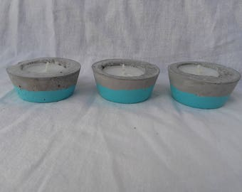 Round concrete blue candle holder
