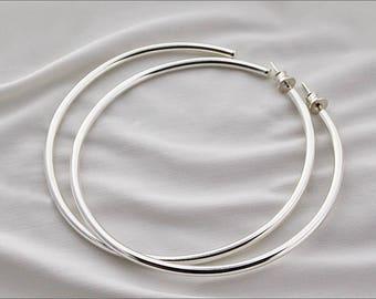Large hoop earrings rings semi-open Silver 925/1000