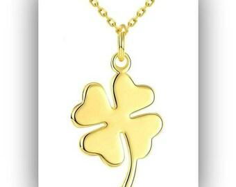 Gold Four Leaf Clover Necklace,Gold Shamrock Necklace Pendant,Gold Lucky Clover Necklace,Irish Clover Jewelry,Four Leaf Clover Gift