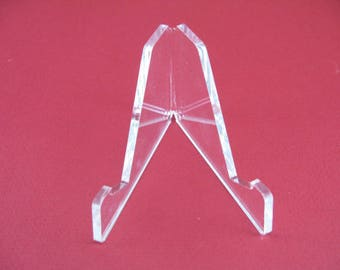 Large Acrylic Display Stand- Plastic easel for mount ing rock fossil mineral and other collectible items. ONE STAND. DISP2