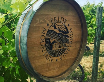 Engraved Wine Barrel Head