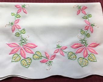 Vintage Hand Crafted Linen Table Runner Dresser Scarf with Big Pink Flowers