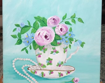 SOLD- Commissioned Floral Teacup Painting