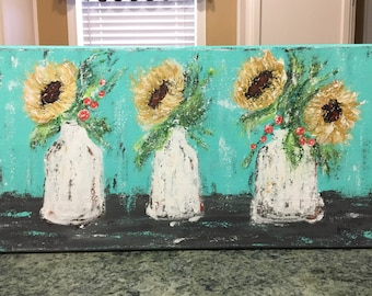 Floral Painting, sunflower painting, acrylic painting, sunflower decor