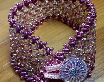 Crystal and Purple SuperDuo, Seed Bead Herringbone Cuff Bracelet with Czech Glass Button