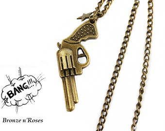 """BANG"" bronze necklace gun Sheriff star gun"