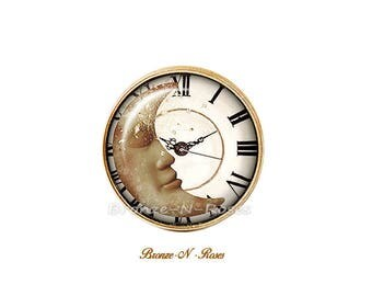 Bague Le temps d'un rêve cabochon blanc étoile lune bijou fantaisie blanc montre verre