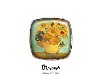 Square ring Vincent Van Gogh sunflowers cabochon silver glass