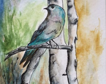 Blue bird greeting card/Watercolor Greeting Card/Bird greeting card/Bird watercolor/Bird card/Sabino Canyon/Card and envelope/Nature art