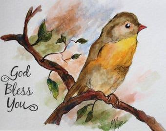 God Bless You greeting card/Watercolor Greeting Card/Yellow bird card/5 x 7 card/Inspirational card/Card and envelope/Inspirational greeting