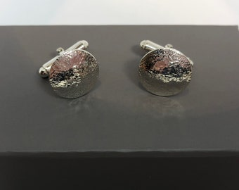 Reticulated sterling silver round cufflinks