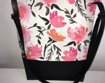 Purse , flowers , pink black and white