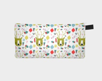 Cute Holiday reindeer - Pencil case - Christmas bag - Christmas gift idea
